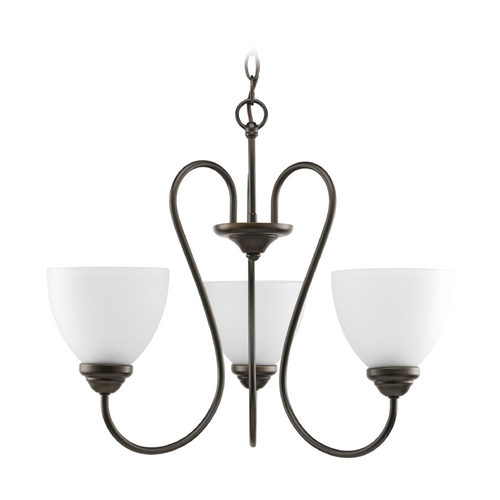 Progress Lighting Progress Chandelier with White Glass in Antique Bronze Finish P4664-20