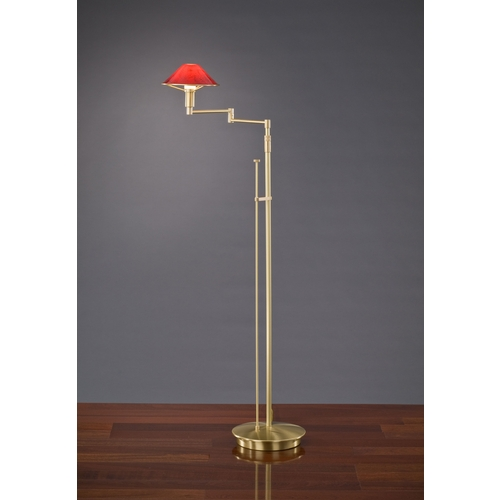 Holtkoetter Lighting Holtkoetter Modern Swing Arm Lamp with Red Glass in Brushed Brass Finish 9434 BB MGR