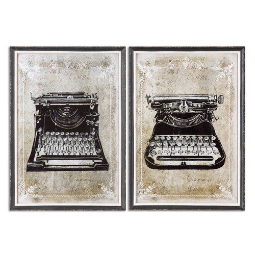 Uttermost Lighting Uttermost Classic Typewriters Vintage Art, Set of 2 32536