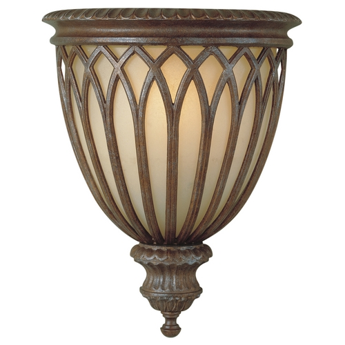 Feiss Lighting Sconce Wall Light with White Glass in British Bronze Finish WB1238BRB