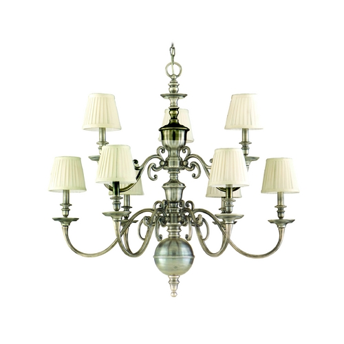 Hudson Valley Lighting Chandelier with White Shades in Historic Nickel Finish 1749-HN