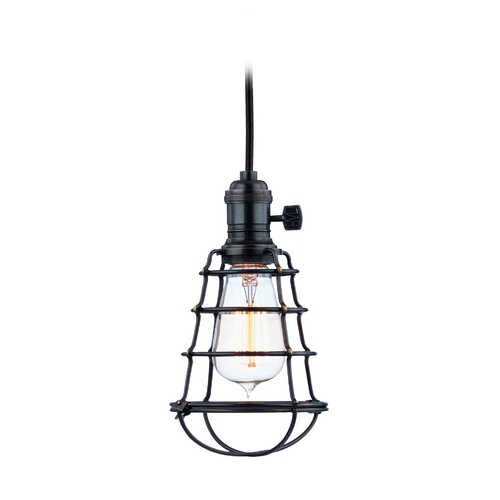 Hudson Valley Lighting Mini-Pendant Light with Brown Cage Shade 8002-OB-WG