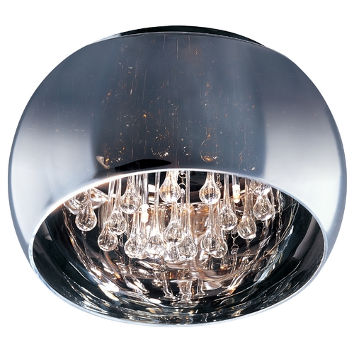 ET2 Lighting Modern Flushmount Light with Clear Glass in Polished Chrome Finish E21200-10PC