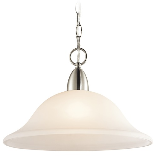 Kichler Lighting Kichler Pendant Light with White Glass in Brushed Nickel Finish 42881NI
