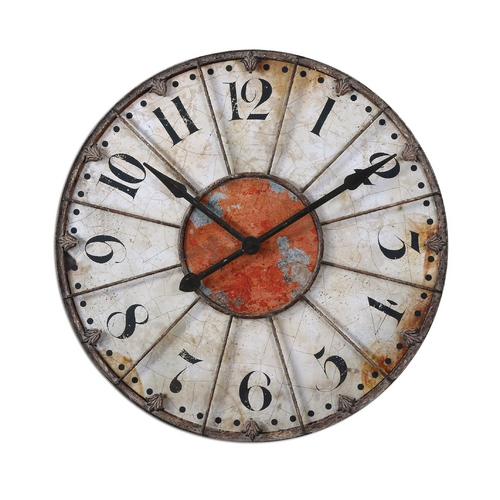 Uttermost Lighting Clock in Crackled Ivory Finish 06664