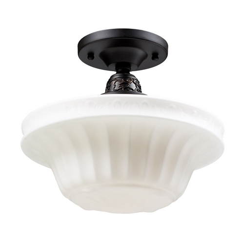 Elk Lighting Semi-Flushmount Light with White Glass in Oiled Bronze Finish 66221-1