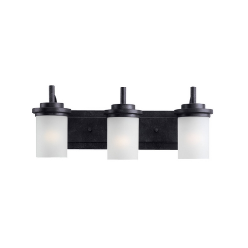 Sea Gull Lighting Modern Bathroom Light with White Glass in Blacksmith Finish 44662-839