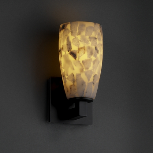 Justice Design Group Justice Design Group Alabaster Rocks! Collection Sconce ALR-8921-28-MBLK