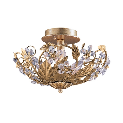 Crystorama Lighting Crystal Semi-Flushmount Light in Gold Leaf Finish 5316-GL