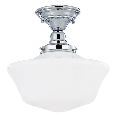 Design Classics Lighting 12-Inch Schoolhouse Ceiling Light in Chrome Finish FBS-26 / GA12