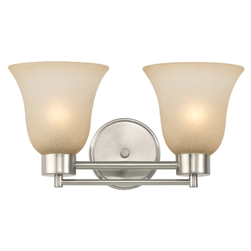 Design Classics Lighting Modern Bathroom Light with Brown Art Glass in Satin Nickel Finish 702-09 GL9222-CAR