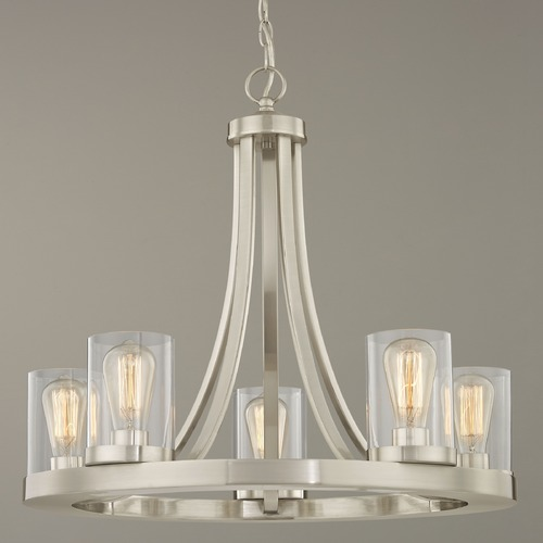 Design Classics Lighting Industrial Chandelier Satin Nickel with Clear Glass 5-Light 162-09 GL1040C