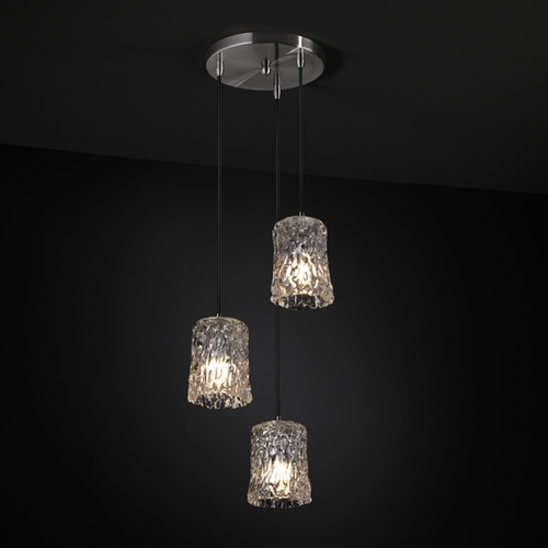 Justice Design Group Justice Design Group Veneto Luce Collection Multi-Light Pendant GLA-8818-56-CLRT-NCKL