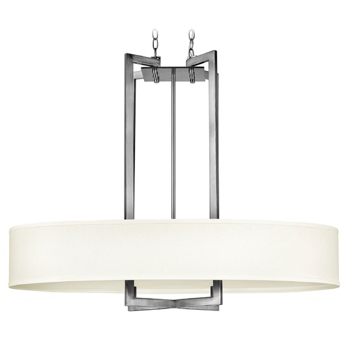 Hinkley Lighting Modern Drum Pendant Light with White Shade in Antique Nickel Finish 3208AN