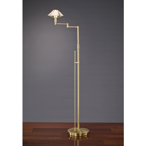 Holtkoetter Lighting Holtkoetter Modern Swing Arm Lamp with White Glass in Brushed Brass Finish 9434 BB MRB