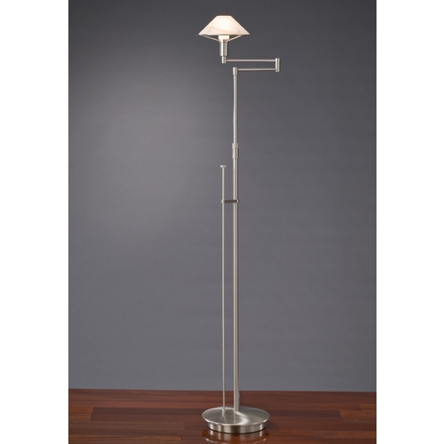 Holtkoetter Lighting Holtkoetter Modern Swing Arm Lamp with Alabaster Glass in Satin Nickel Finish 9434 SN ABR