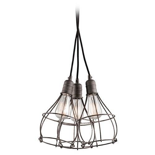 Kichler Lighting Kichler Lighting Industrial Cage Weathered Zinc Multi-Light Pendant 43600WZC