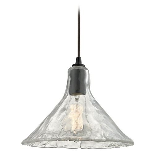 Elk Lighting Elk Lighting Hand Formed Glass Oil Rubbed Bronze Pendant Light with Conical Shade 10435/1