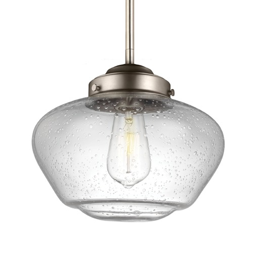 Feiss Lighting Feiss Alcott Satin Nickel Mini-Pendant Light P1384SN
