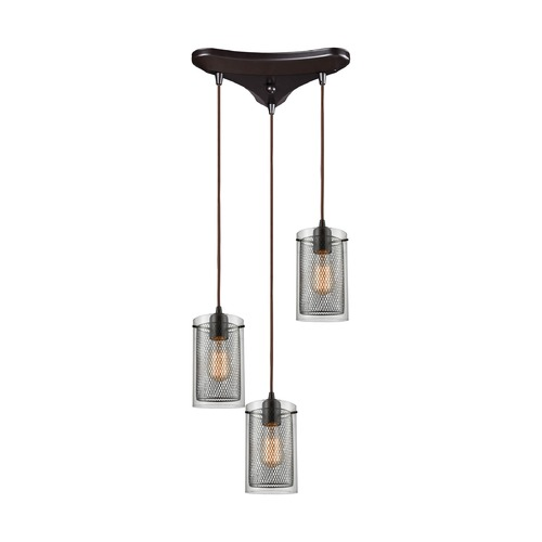 Elk Lighting Elk Lighting Brant Oil Rubbed Bronze Multi-Light Pendant with Cylindrical Shade 10448/3