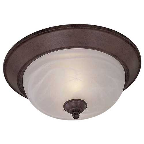 Minka Lavery Flushmount Light with White Glass in Antique Bronze Finish 892-91-PL