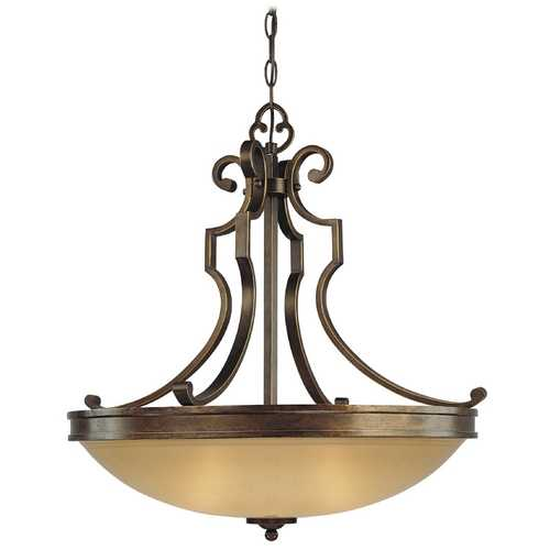 Minka Lavery Pendant Light with Beige / Cream Glass in Deep Flax Bronze Finish 4233-288
