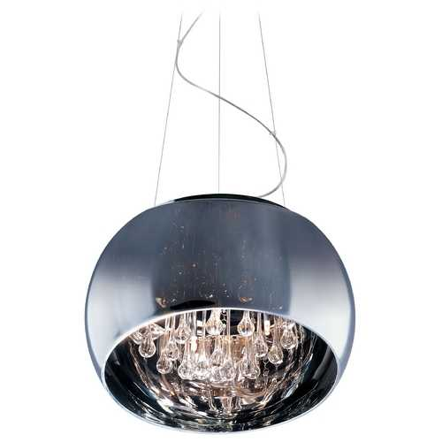 ET2 Lighting Modern Pendant Light with Clear Glass in Polished Chrome Finish E21206-10PC