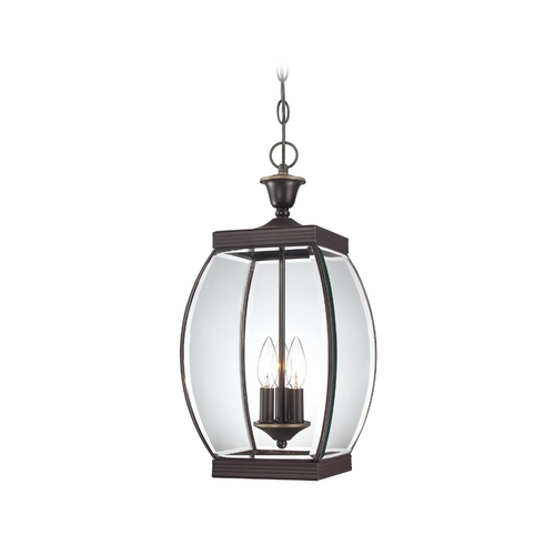 Quoizel Lighting Outdoor Hanging Light with Clear Glass in Medici Bronze Finish OAS1909Z