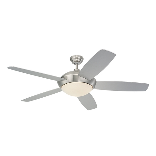 Monte Carlo Fans Modern Ceiling Fan with Light with White Glass in Brushed Steel / Matte Opal Finish 5SLR52BSD-B