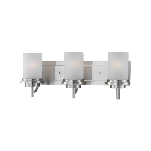 Sea Gull Lighting Modern Bathroom Light with White Glass in Brushed Nickel Finish 44662-962