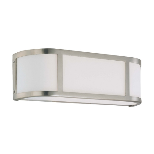 Nuvo Lighting Bathroom Light with White Glass in Brushed Nickel Finish 60/3802
