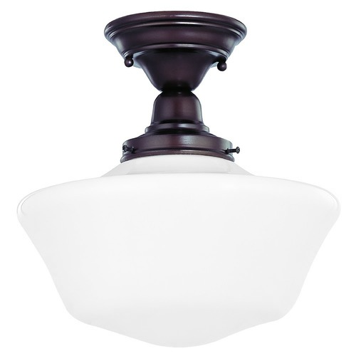 Design Classics Lighting 12-Inch Schoolhouse Semi-Flushmount Ceiling Light In Bronze Finish FBS-220 / GA12