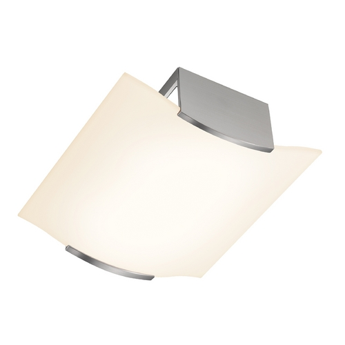 Sonneman Lighting Modern Flushmount Light with Etched Glass in Satin Nickel Finish 3879.13