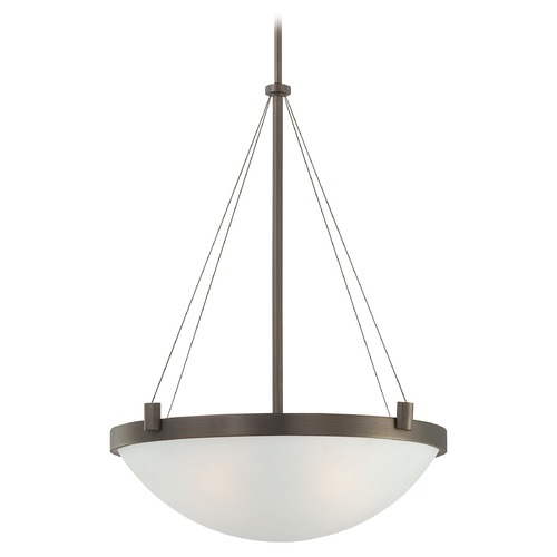 George Kovacs Lighting George Kovacs Suspended Copper Bronze Patina Pendant Light with Bowl / Dome Shade P592-647
