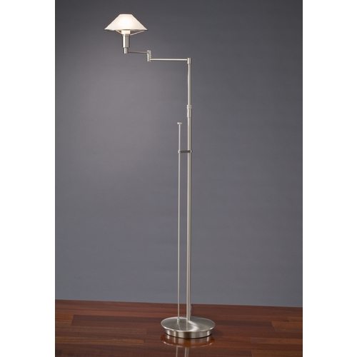 Holtkoetter Lighting Holtkoetter Modern Swing Arm Lamp with Alabaster Glass in Satin Nickel Finish 9434 SN AWH