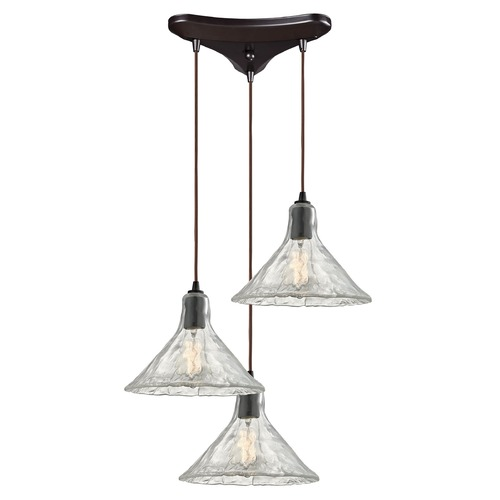 Elk Lighting Elk Lighting Hand Formed Glass Oil Rubbed Bronze Multi-Light Pendant with Conical Shade 10435/3