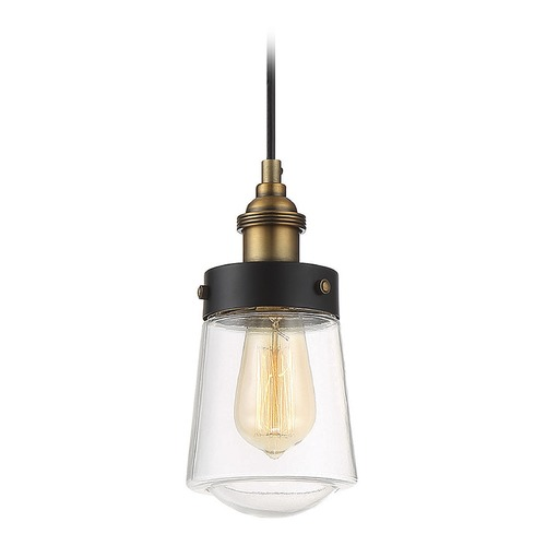 Savoy House Mid-Century Modern Mini-Pendant Light Black & Brass Macauley by Savoy Hosue 7-2064-1-51