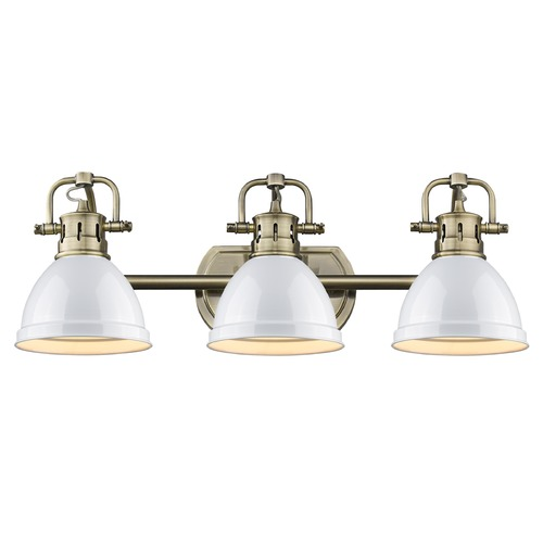 Golden Lighting Golden Lighting Duncan Ab Aged Brass Bathroom Light 3602-BA3 AB-WH
