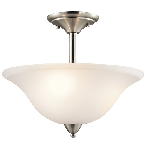 Kichler Lighting Kichler Brushed Nickel Semi-Flushmount Light with White Glass 42879NI