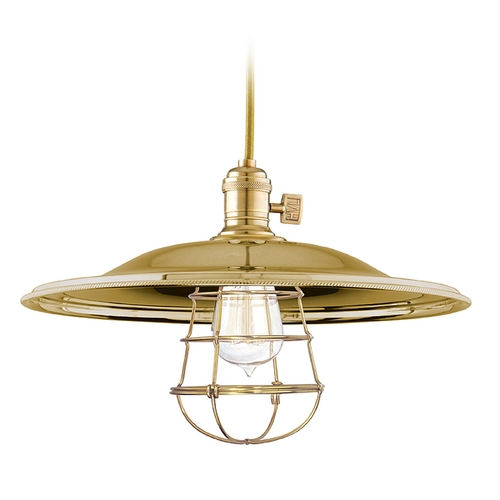 Hudson Valley Lighting Pendant Light in Aged Brass Finish 8002-AGB-MM2-WG