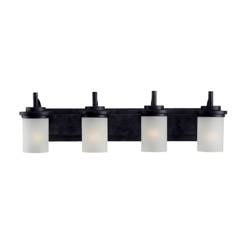 Sea Gull Lighting Modern Bathroom Light with White Glass in Blacksmith Finish 44663-839