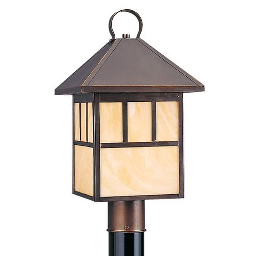Sea Gull Lighting Post Light with Beige / Cream Glass in Antique Bronze Finish 82947BL-71