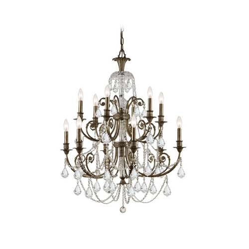 Crystorama Lighting Crystal Chandelier in English Bronze Finish 5119-EB-CL-SAQ