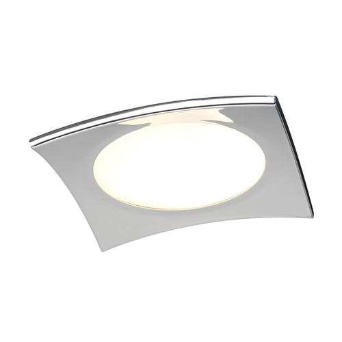 PLC Lighting Modern Flushmount Light with White Glass in Polished Chrome Finish 7642 PC