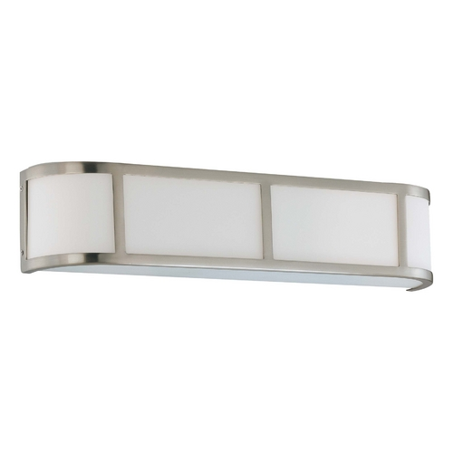 Nuvo Lighting Bathroom Light with White Glass in Brushed Nickel Finish 60/3803