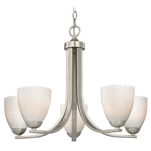 Design Classics Lighting Contemporary Chandelier in Satin Nickel Finish with White Art Glass 584-09 GL1020MB