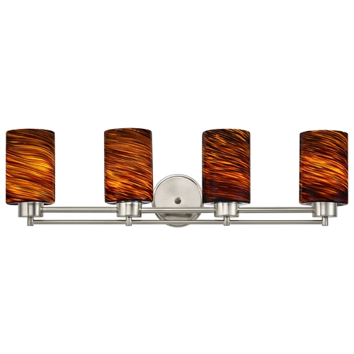 Design Classics Lighting Modern Bathroom Light with Brown Art Glass in Satin Nickel Finish 704-09 GL1023C