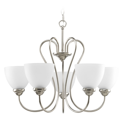 Progress Lighting Progress Chandelier with White Glass in Brushed Nickel Finish P4666-09