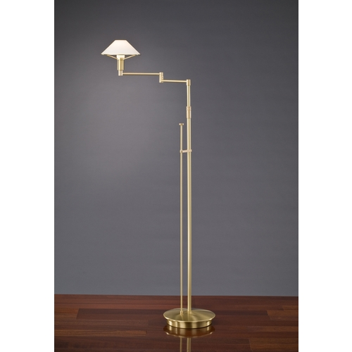 Holtkoetter Lighting Holtkoetter Modern Swing Arm Lamp with White Glass in Brushed Brass Finish 9434 BB TRW