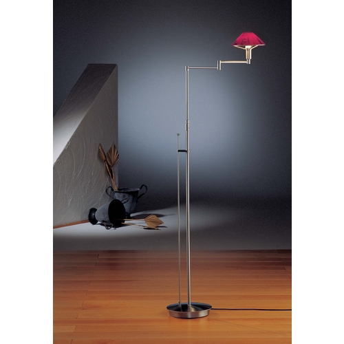 Holtkoetter Lighting Holtkoetter Modern Swing Arm Lamp with Red Glass in Satin Nickel Finish 9434 SN MGR